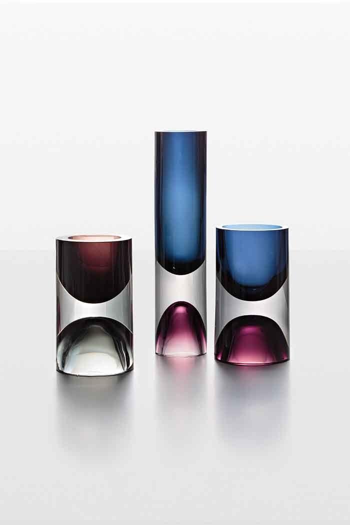 Vases Jääpala, Tapio Wirkkala (Iittala ) / Glass from Finland in the Bischofberger Collection, jusqu'au 2 août à Le Stanze del Vetro, île de San Giorgio Maggiore, Venise