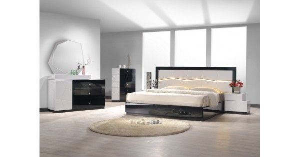 The Turin Bedroom A fresh perspective on modern furniture. The Turin Bedroom adds a charming combination of light grey and black lacquer &  uniquely designed headboard that features led lighting. The case goods feature sophisticated design, as well as incredibly crafted detai