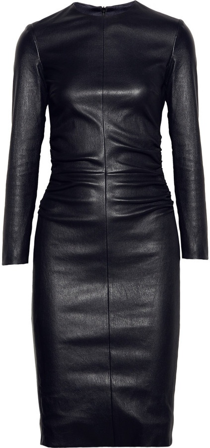 The Row Risting ruched leather dress