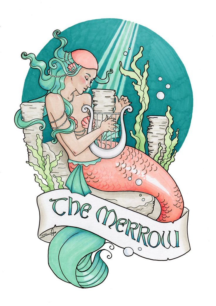 The Merrow 2nd version by Aurelie-S Marker, white ink and coloured pencils illustration - September 2016. Being into Irish folk and fairy tales, I always wanted to draw a merrow as opposite to a simple mermaid. It is pretty similar and yet, those are 2 different sea creatures. The merrow has a green hair and wears a little cap that is supposed to be where their magical ability lays (a little like the selkie and her seal skin).