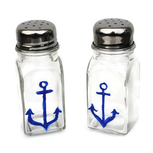 These Blue Anchor glass salt and pepper shakers are perfectly nautical for your home or a fabulously coastal inspired gift. They are-painted with special glass paints and oven cured for durability. Th