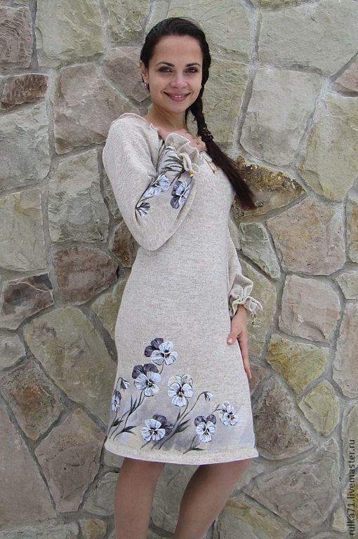 """Купить Платье из льна """" Виола"""" - белый, рисунок, платье из льна, Вышивка гладью, Виола"""