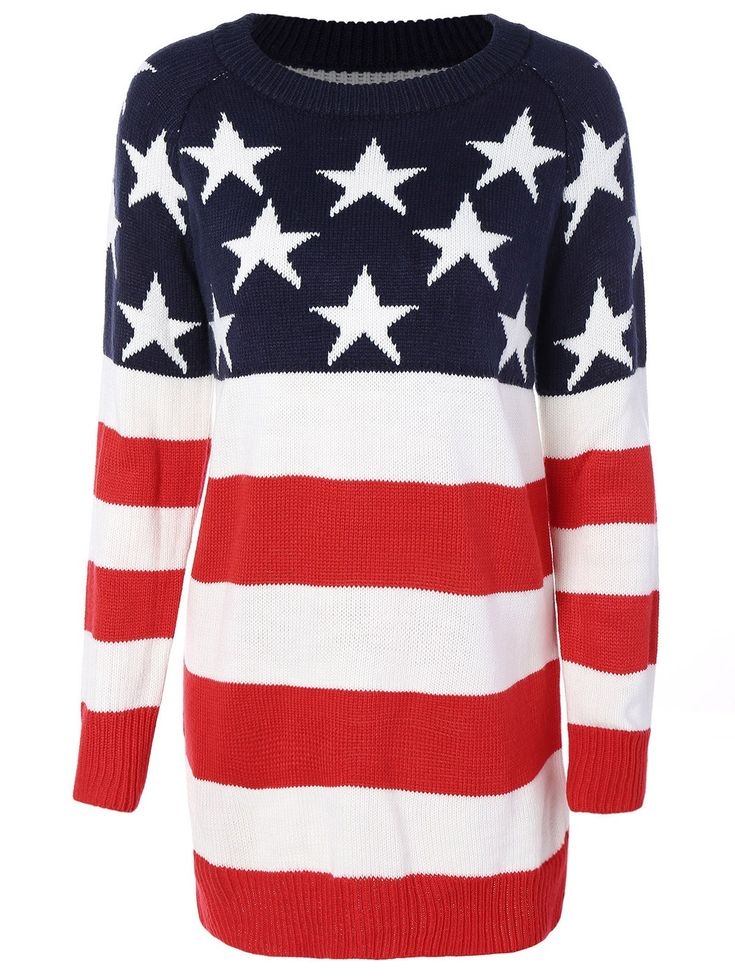 Flag Patterned Crew Neck Tunic Sweater - Red And White And Blue - M d25f19109