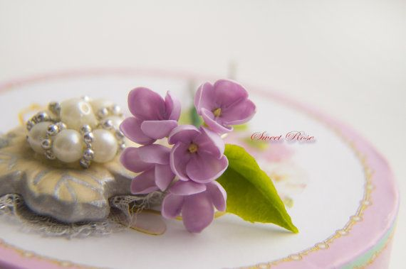 Lilac Flower hairpinFloral clip Cold porcelain от SweetRose68