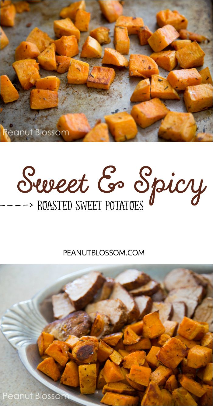 Sweet and spicy roasted sweet potatoes. Fantastic side dish for healthy clean eating. Paleo friendly and gluten free. Try this with poached eggs for the best brunch ever!