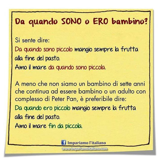 Da quando SONO o ERO bambino... #learnitalian #learningitalian #studyitalian…