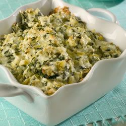 This Hot Artichoke Spinach Dip from allrecipes has gotten GREAT reviews and is sure to be a crowd pleaser. Try it using Birds Eye Frozen Chopped Spinach.