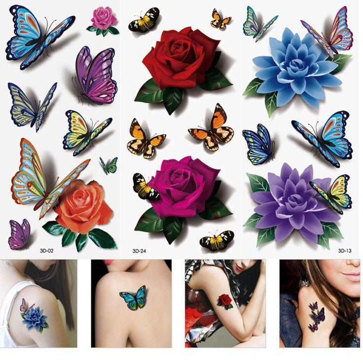 3 Lembar perempuan 3D Colorful Stiker Glitter Sementara Tato Tahan Air Tubuh Lip Art Lengan DIY Mini Rose Flower Kupu-kupu