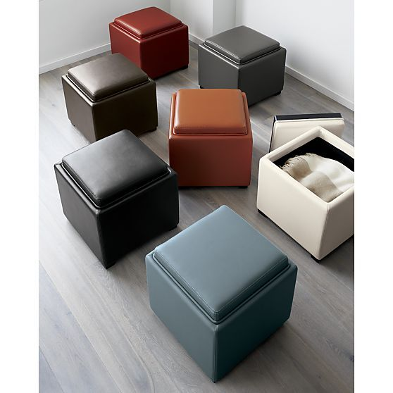 "Stow Smoke 17"" Leather Storage Ottoman 