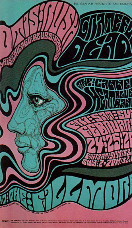Grateful Dead poster by Wes Wilson, Fillmore Auditorium, San Francisco 1967 - Pink & Green