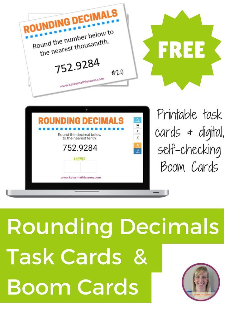 Check out this FREE set of printable task cards and digital Boom Cards to help students practice rounding to the nearest tenth, hundredth, and thousandth!
