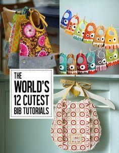 The world's cutest bib tutorials!Cutest Bibs, Monsters Bibs, Diy Bibs, Baby Gifts, Sewing Baby Bibs, 12 Cutest, Andrea Notebooks, Babybibs, Bibs Tutorials