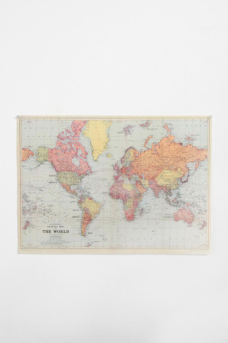 World Map Poster - love the idea of this and then putting little pins everywhere you travel! So cute!  #UrbanOutfitters