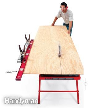 Elongate your table saw fence with a long level or timber to stabilize long board cuts.