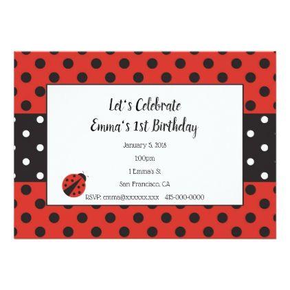 #Ladybug Invitation for Kid Birthday or Baby Shower - #birthdayinvitation #birthday #party #invitation #cool #invitations