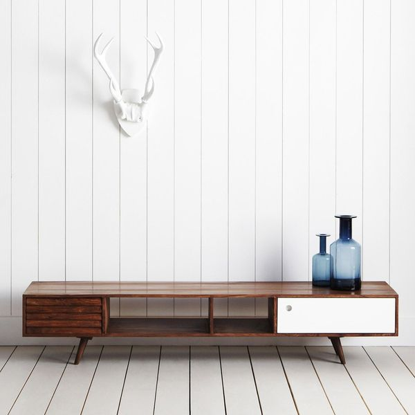 Mid-century modern - only complaint is its too low, love white color pop