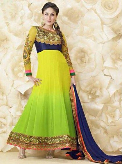Beautiful Pale Green Bedrooms: Light Green Color Beautiful Kareena Kapoor Anarkali Salwar