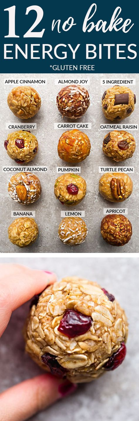 No Bake Energy Bites 12 Different Ways - the perfect easy and healthy no bake & tasty gluten free snacks for on the go or after a workout! Best of all, most of these delicious recipes have no refined sugar and are simple to customize & make ahead for meal prep to pack for school or work lunchboxes. Flavors include: 5 Ingredient, Almond Joy, Apple Cinnamon, Apricot, Banana, Carrot Cake, Coconut Almond Butter, Cranberry, Lemon, Mocha, Oatmeal Raisin, Pumpkin & Turtle Pecan. #ENERGYBITES