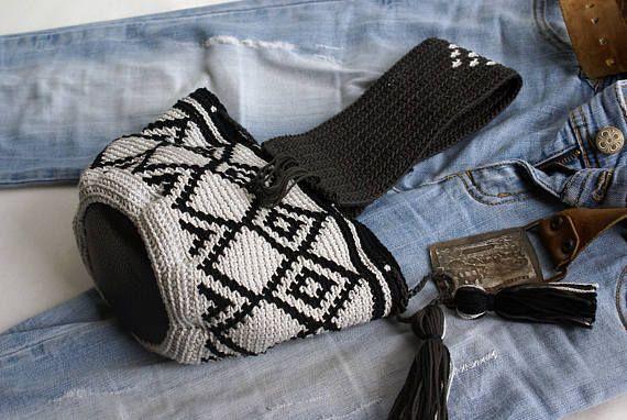 Mochila Wayuu Small Bag Genuine Leather Base Top Handle