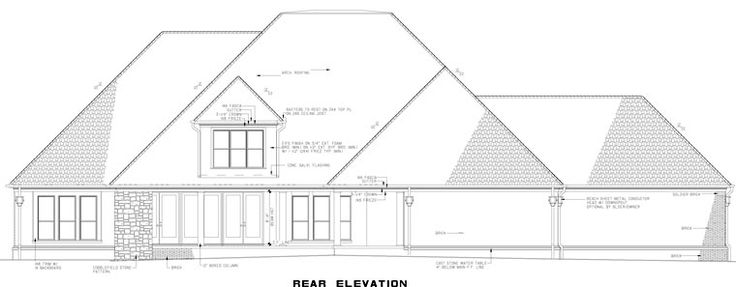 Rear Elevation of House Plan 82234