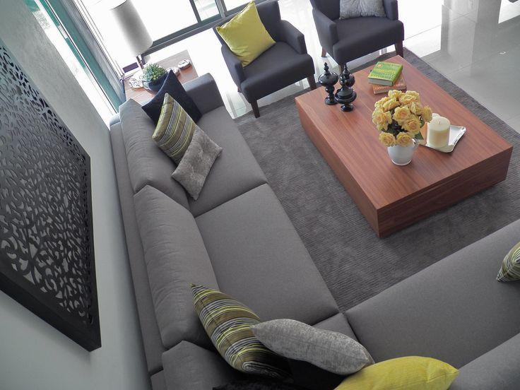 sala gris amarillo salon living room