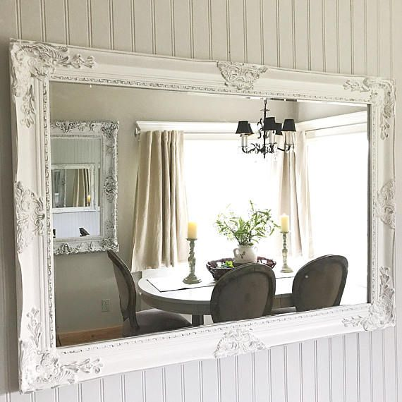 Large Bathroom Mirror, White Grey Distressed, Nursery Mirror, Living Room Decor, Large Wall Hanging, French Cottage Mirror, Custom Options