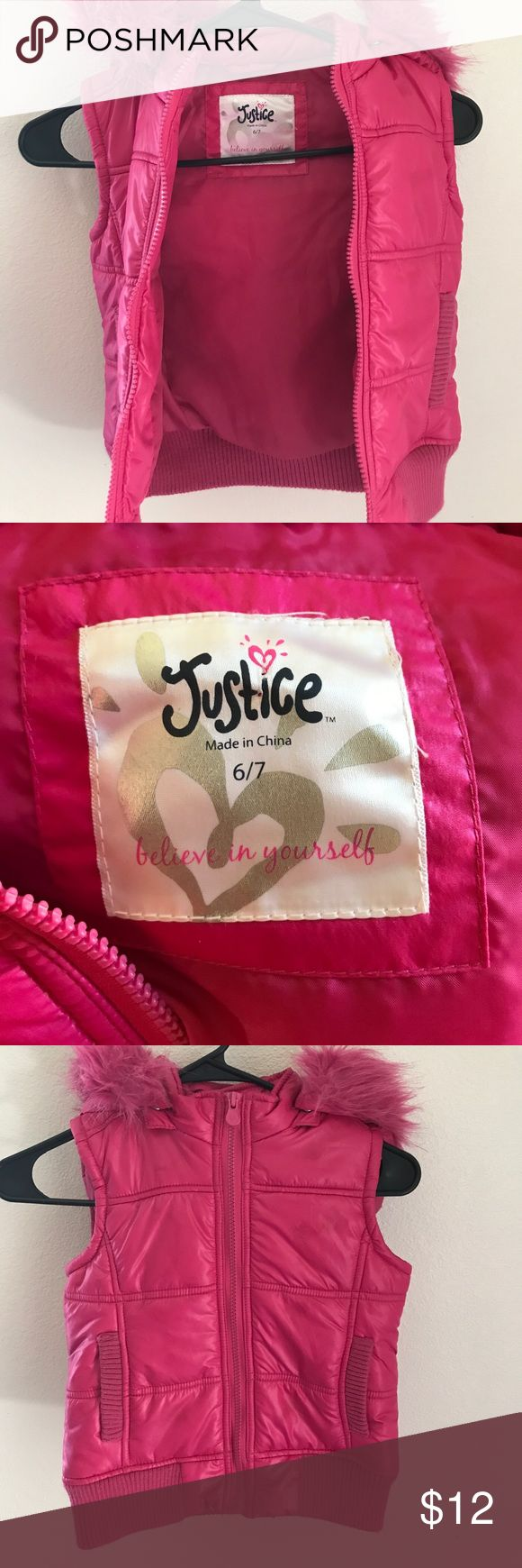 Hot Pink Justice Girls puffer vest 6/7 Hot pink hooded puffer vest by justice. Size 6/7 removable hood. Has a name written on the inside thats not noticeable when worn. Justice Jackets & Coats Vests