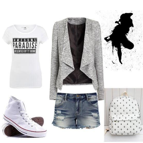 Серый кардиган-пиджак в сочетании с рваными шортами, белой футболкой и…