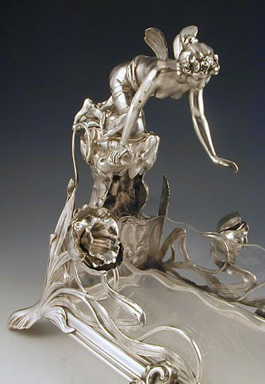 WMF Glass & Pewter Centrepiece of Maiden Reaching into a Pond - Art Nouveau Germany