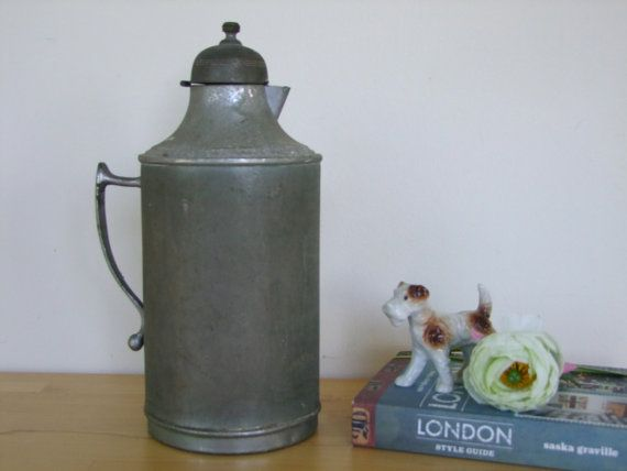 Vintage 1950's Metal Pitcher/Jug - Old Canteen/Thermos? (Rustic/Primitive Home Decor)