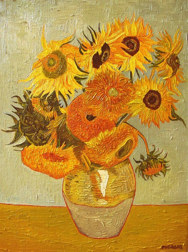 Sunflowers (Vincent van Gogh) by Peco Art ... Oil on canvas, 30x40cm ...