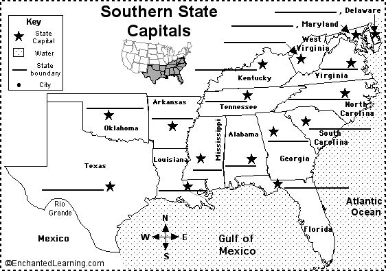 Label Southern US State Capitals Printout