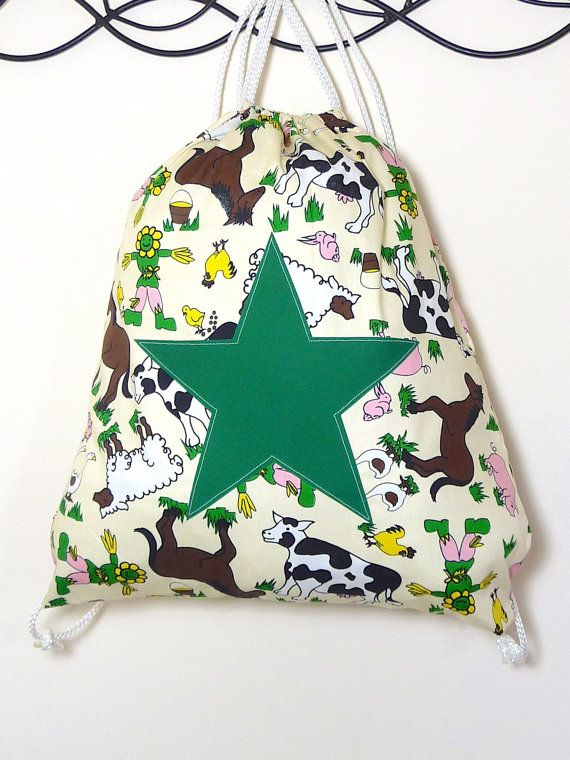 Farm Animals Large Cotton Backpack by StarBrightDesignsUK on Etsy, £8.00