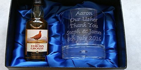 The Famous Grouse Engraved/Personalised Famous Grouse Whisky Glass Silk Gift Set - 40th/50th/60th/65th/70th Birthday/D 8oz Glass Bubble Based Tumbler measuring approx 2.75 Width, 2.75 Depth, 3.5 Height in a blue silk lined presentation box with a 5cl miniature bottle of Famous Grous (Barcode EAN = 5060333681500) http://www.comparestoreprices.co.uk/birthday-gifts/the-famous-grouse-engraved-personalised-famous-grouse-whisky-glass-silk-gift-set--40th-50th-60th-65th-70th-birthday-d.asp