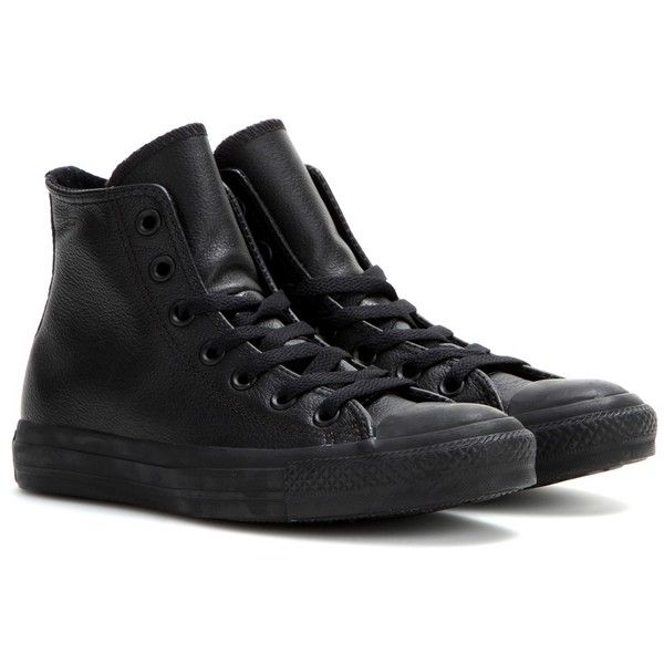 Converse mytheresa.com Exclusive Chuck Taylor All Star Leather... ($95) ❤ liked on Polyvore featuring shoes, sneakers, converse, sapatos, flats, black, black leather flats, leather sneakers, converse high tops and black high tops