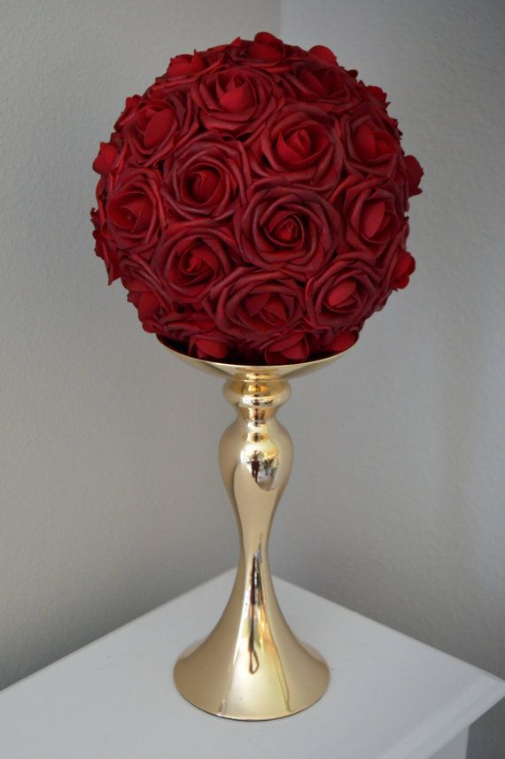 DEEP RED Rose Ball Wedding Centerpiece Deep red by KimeeKouture