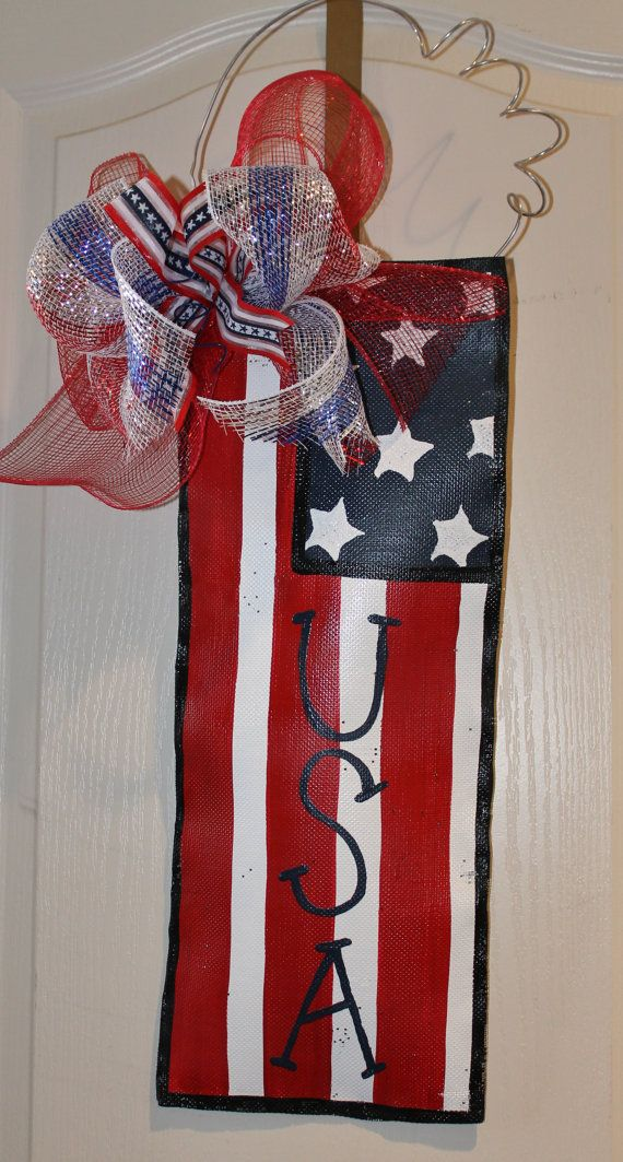 Patriotic Flag Door Decoration by abossard on Etsy