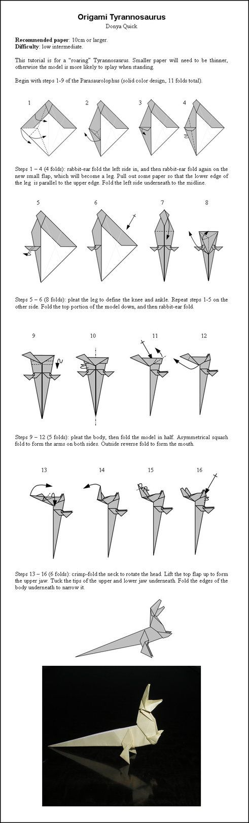 Origami T-rex Instructions by DonyaQuick