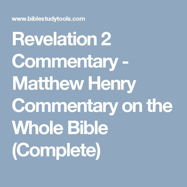 Revelation 2 Commentary - Matthew Henry Commentary on the Whole Bible (Complete)