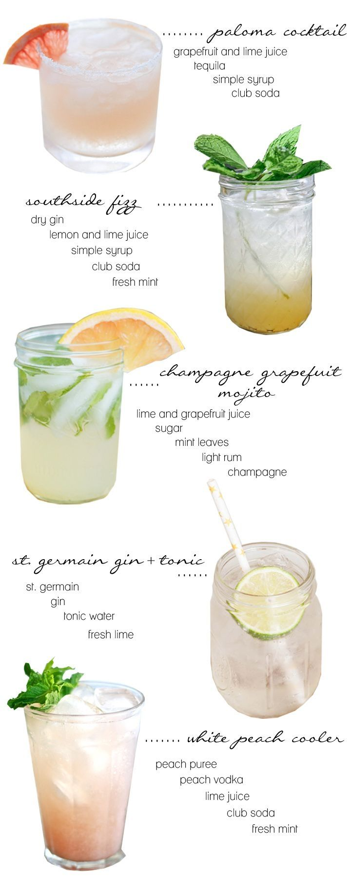 summer cocktails: Paloma Cocktail, Southside Fizz, Champagne Grapefruit Mojito, St Germain Gin and Tonic, White Peach Cooler