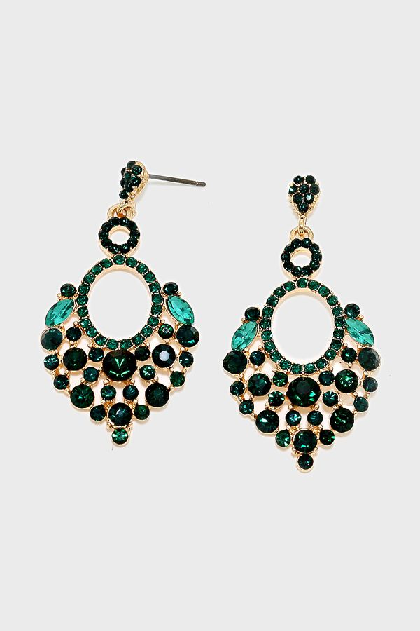 Crystal Lamire Earrings in Emerald | Women's Clothes, Casual Dresses, Fashion Earrings & Accessories | Emma Stine Limited
