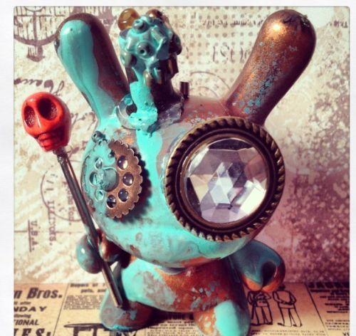 "Kidrobot 3"" Dunny Rusted Steam Punk Custom"