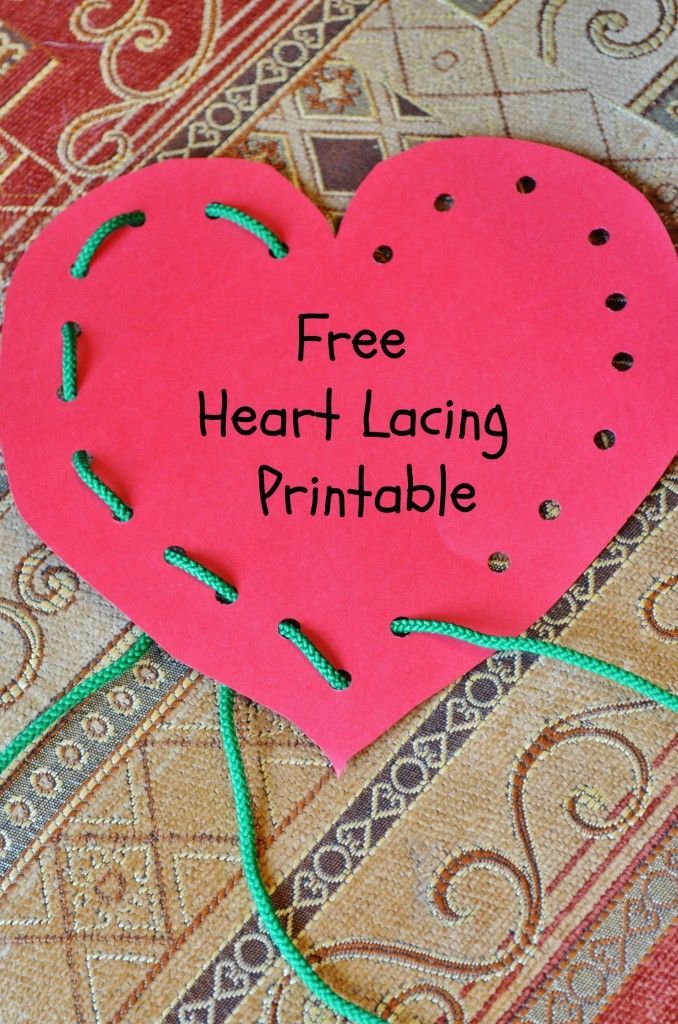 """Free Heart Lacing """"Lace and Trace"""" Printable - great for fine motor skills and would make fun Valentine's Day cards for the kids! - repinned by @PediaStaff – Please Visit ht.ly/63sNtfor all our pediatric therapy pins"""