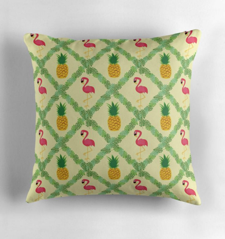 Tropical Throw Pillow 16 x 16, Flamingo and Pineapple, Colorful, Decorative Pillow, Palm Leaves, Indoor Pillow by AdultsAreKidsToo on Etsy https://www.etsy.com/listing/530272887/tropical-throw-pillow-16-x-16-flamingo