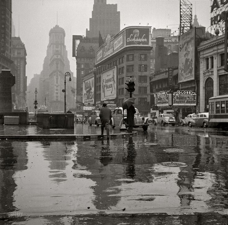 "New York, March 1943. ""Times Square on a rainy day"""
