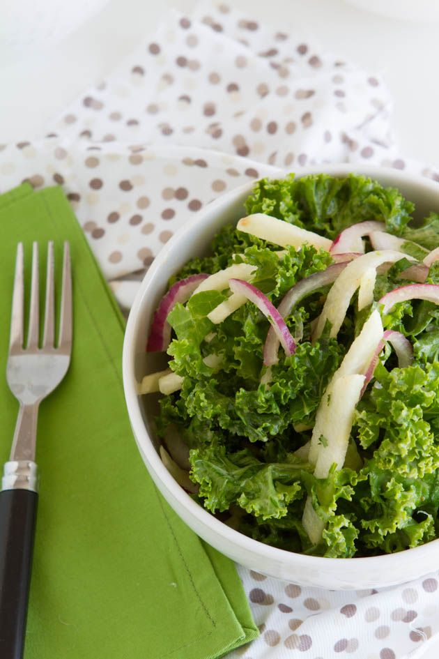 A raw kale salad recipe with raw jicama, red onions and a fresh pineapple, lime salad dressing.