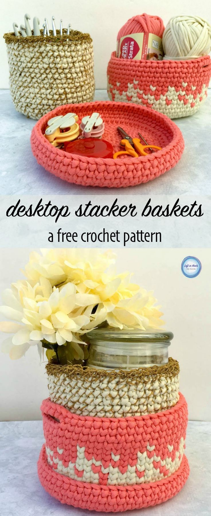 A modern free crochet pattern! Use Red Heart Strata Yarn or Bernat Maker Home Dec to make a set of these modern nesting baskets. This pattern is a perfect, fast organizing project. Or fill it with a candle or baby essentials to turn this into a fabulous, functional gift basket. Perfect for housewarming or baby gifts!