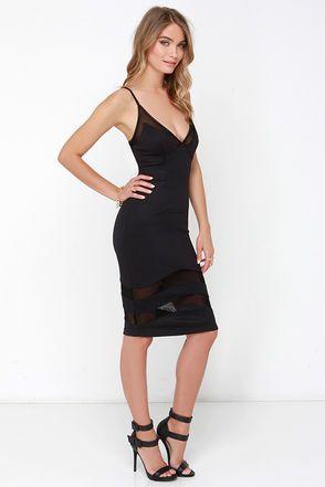 Chic Black Midi Dress - Bodycon Dress - Mesh Dress - $56.00