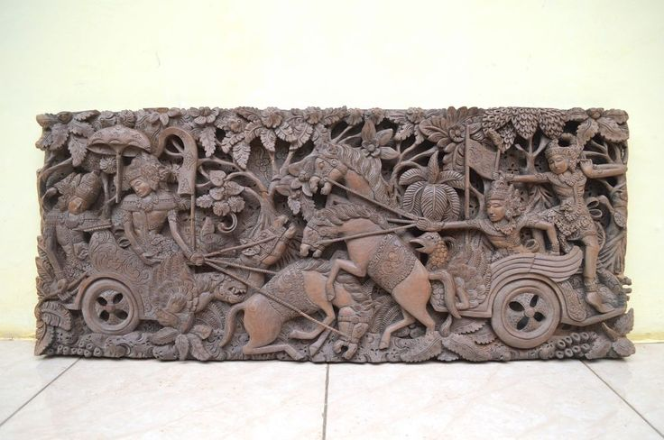"Antique Indonesia Mahabharata Karna Dies Relief 37.5"" Wood Carving Wall Panel"