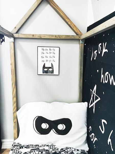 Montessori Toddler Room Superhero Toddler Room Monochrome Kids Bedroom Batman Bedroom Floor Bed Toddler Bed